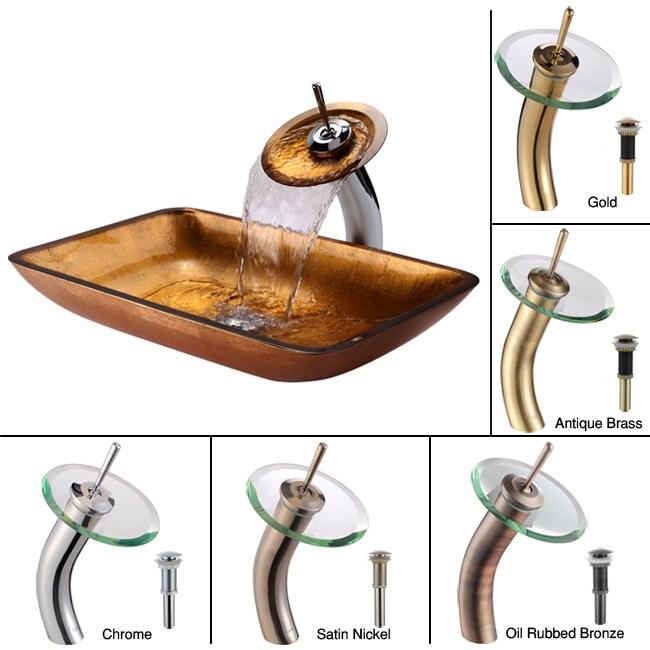 Kraus Golden Pearl Rectangular Vessel Sink/ Waterfall Faucet