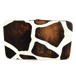 H2W Brand Giraffe Print Hard Cover Faux Leather Wallet