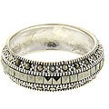 Dolce Giavonna Sterling Silver Marcasite Wedding Band