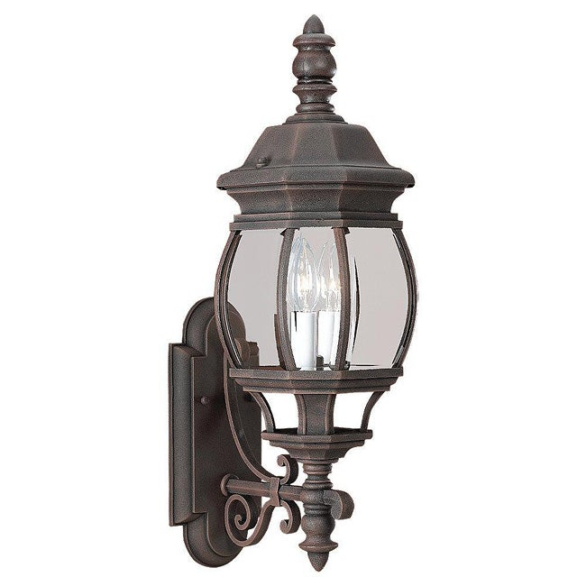 Cast Aluminum Tawny Bronze Finish 2-light Outdoor Wall Lantern - 12294602 - Overstock.com ...