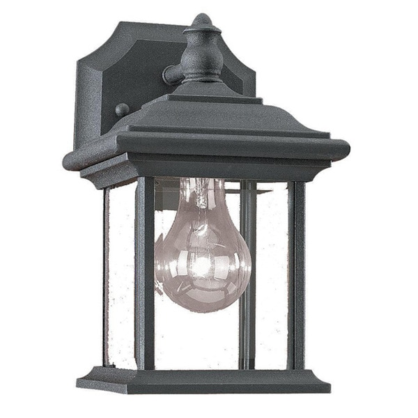 Clear Beveled Glass Black Finish Outdoor Wall Lantern 5859671