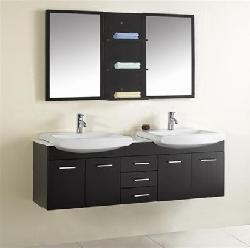 Design Element Tustin 72-inch Double Sink and Mirror Bathroom Vanity Set