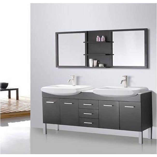 Design Element Tustin 72-inch Double Sink and Mirror Bathroom Vanity ...