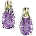 Miadora Sterling Silver and 10k Gold Amethyst Earrings