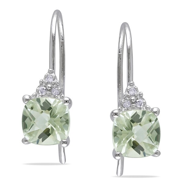 Miadora 10k Gold Green Amethyst Diamond Accent Earrings