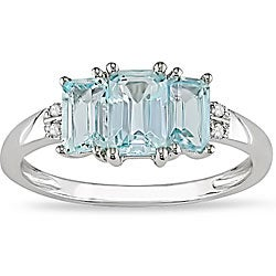 Miadora 10k White Gold Blue Topaz and Diamond Accent Ring