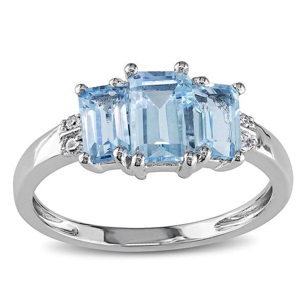 Miadora 10k White Gold Blue Topaz and Diamond Accent Ring