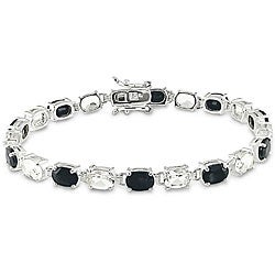 Miadora Sterling Silver Black Sapphire and White Topaz Bracelet