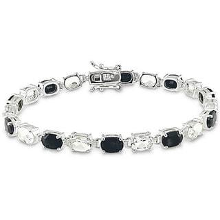 Miadora Sterling Silver Black Sapphire and White Topaz Bracelet