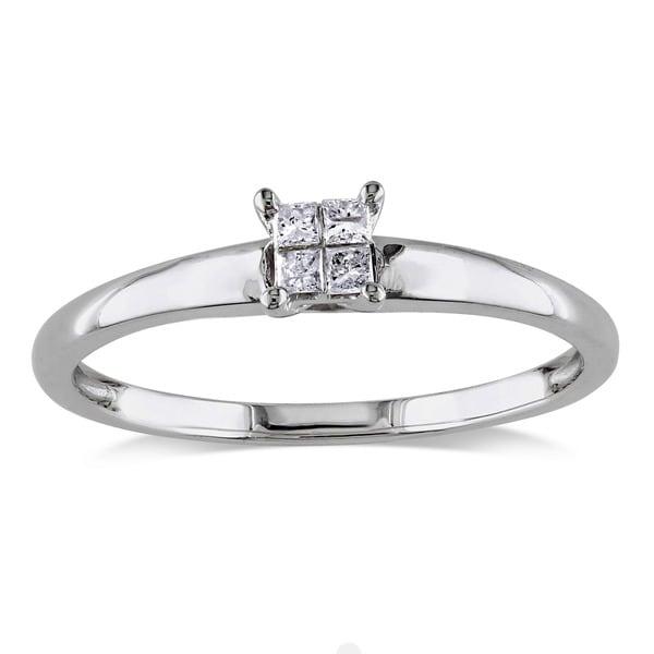 Miadora 10k White Gold 1/10ct TDW Diamond Promise Ring (H-I, I2-I3)