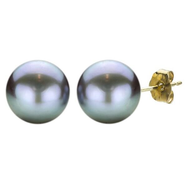 DaVonna 14k Gold Grey Freshwater Pearl Stud Earrings (10-11 mm)