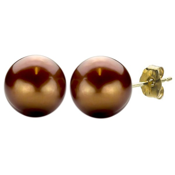 DaVonna 14k Gold Brown Freshwater Pearl Stud Earrings (10-11 mm)