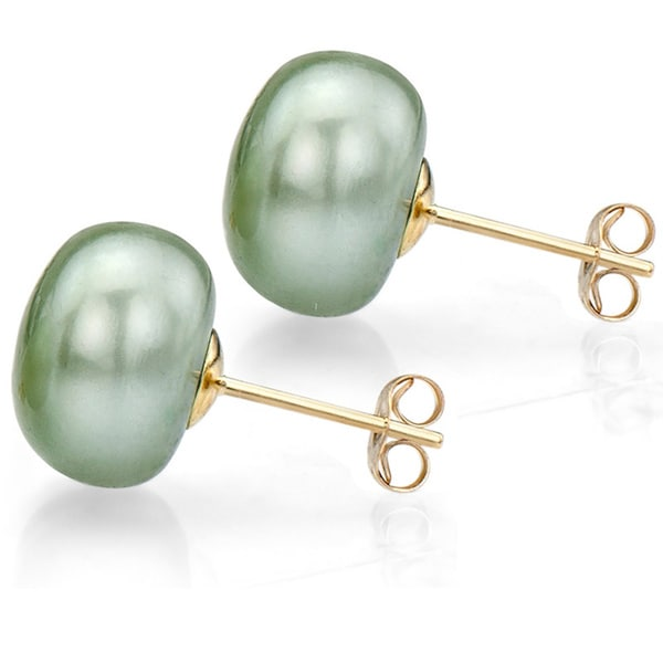 DaVonna 14k Yellow Gold Green FW Pearl Stud Earrings (10-11 mm)