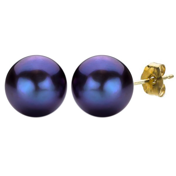 DaVonna 14k Yellow Gold Black FW Pearl Stud Earrings (11-12 mm)