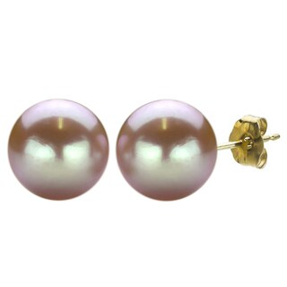 DaVonna 14k Yellow Gold Pink FW Pearl Stud Earrings (11-12 mm)