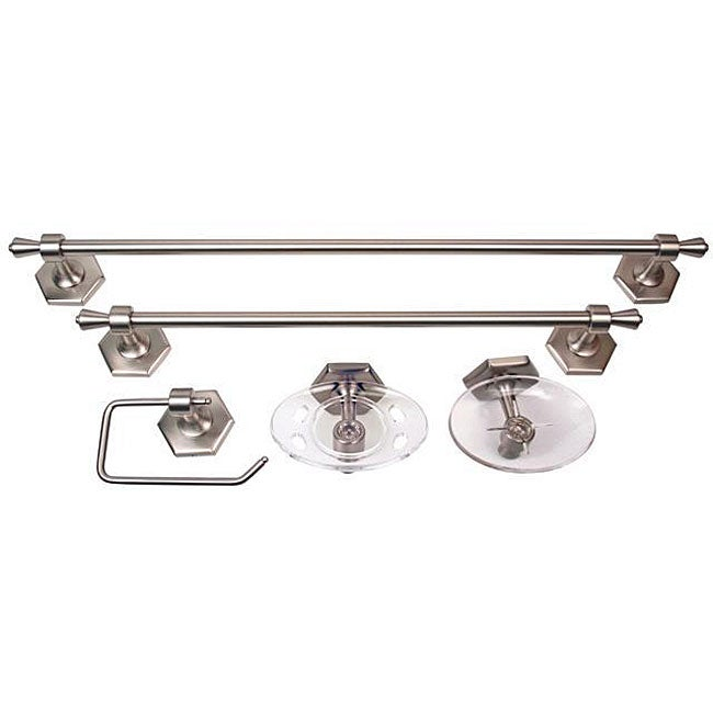 Moen atwood pewter 5 piece bath accessory kit overstock for Bathroom accessories kit