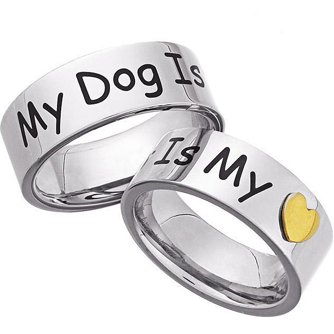 Stainless Steel 'My Dog Is My Heart' Memory Ring