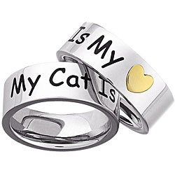 Stainless Steel 'My Cat Is My Heart' Memory Ring