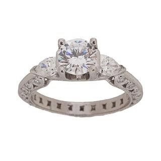 Tacori Platinum CZ and 3/4ct TDW Diamond Engagement Ring (G, VS)