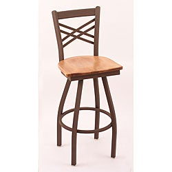Cambridge Bronze 25-Inch Counter Swivel Stool with Medium Maple Seat and Criss-Cross Back