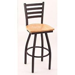 Cambridge Black/ Natural Oak 30-inch Horizontal Slat-back Barstool