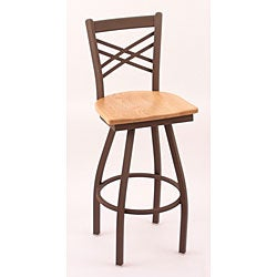 Cambridge Bronze 25-Inch Cross-Back Swivel Counter Stool with Natural Oak Seat