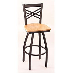 Cambridge Black Wrinkle 30-inch Swivel Counter Stool with Natural Oak Seat