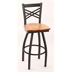 Cambridge Black 25-inch Counter Swivel Stool with Medium Maple Seat