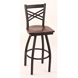 Cambridge Black 30-inch Counter Swivel Stool with Dark Cherry Maple Seat