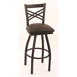 Cambridge Black 30-Inch Counter Swivel Stool with Black Vinyl Cushion Seat and Crisscross Back