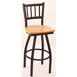 Cambridge Black/ Natural Oak 30-inch Vertical Slat-back Barstool