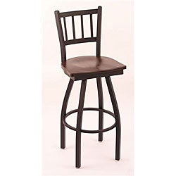 Cambridge Black 30-Inch Counter Swivel Stool with Dark Cherry Maple Seat and Footrest