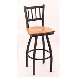 Cambridge Black 25-Inch Wrinkle Finish Counter Swivel Stool with Medium Maple Seat