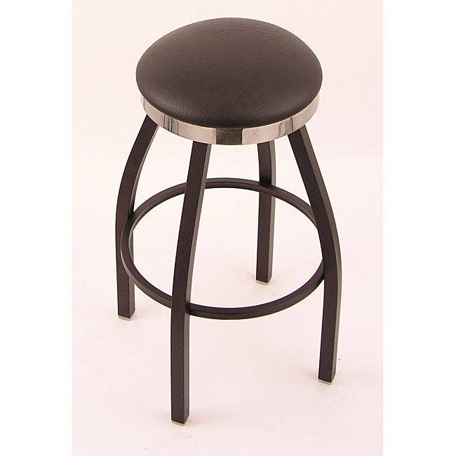Black/ Chrome Single-ring 30-inch Backless Counter Swivel Stool with Black Vinyl Cushion Seat