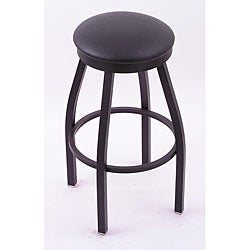 Black Single-ring 30-inch Backless Counter Swivel Stool with Black Vinyl Cushion Seat
