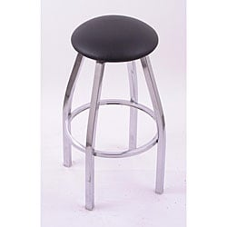 Cambridge Chrome 25-inch Backless Counter Swivel Stool with Black Vinyl Cushion Seat