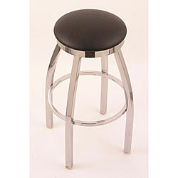 Chrome Single-ring 25-inch Backless Counter Swivel Stool with Black Vinyl Cushion Seat