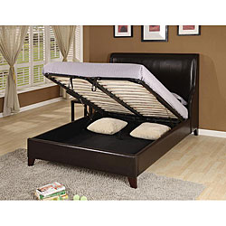 Synthetic Leather Wingback King-size Lift Storage Bed