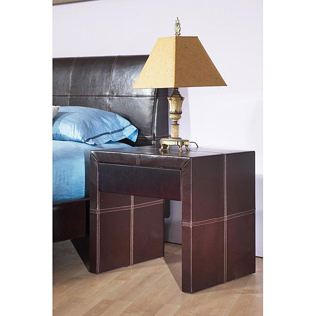 Synthetic Leather Nightstand with Contrast Stitching