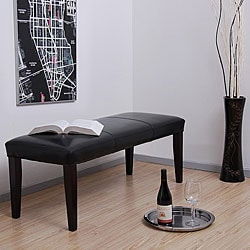 Madison Black Leather Bench