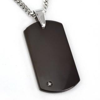 Crucible Blackplated Tungsten Mens Engravable Diamond Dog Tag Necklace