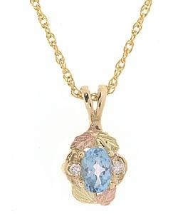 Black Hills Gold Blue Topaz Diamond Pendant