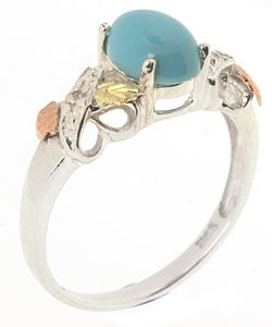 Black Hills Gold and Silver Turquoise and Diamond Ring