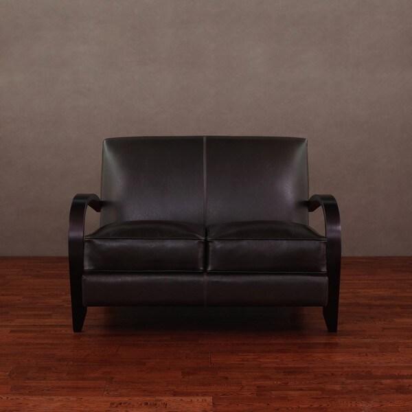 Bloomington Dark Brown Leather Loveseat