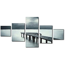 'The Pier' 5-piece Hand Painted Canvas Art Set