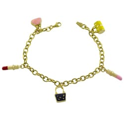 Fremada 10k Gold and Enamel Bag and Lipstick Charm Bracelet