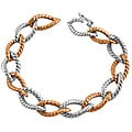 Fremada 14 Karat Rose and White Gold Regency Bracelet (7 inches)