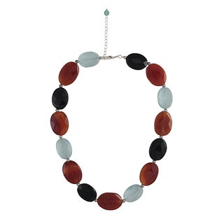 Carnelian, Blue Topaz and Onyx Necklace (Thailand)