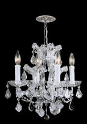Polished Chrome Hand-cut Crystals 4-light Mini Chandelier