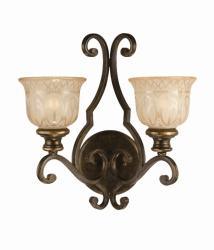 Bronze Umber Amber Glass Shade 2-light Wall Sconce